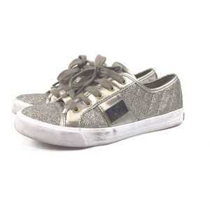 G By Guess Silver Sparkly Lace up Sneakers Size 6